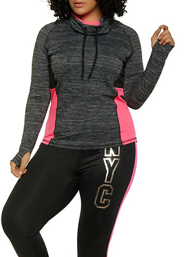 Plus Size Cowl Neck Activewear Top,PINK,large
