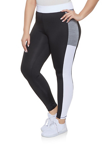Plus Size Color Block Activewear Leggings,BLACK,large