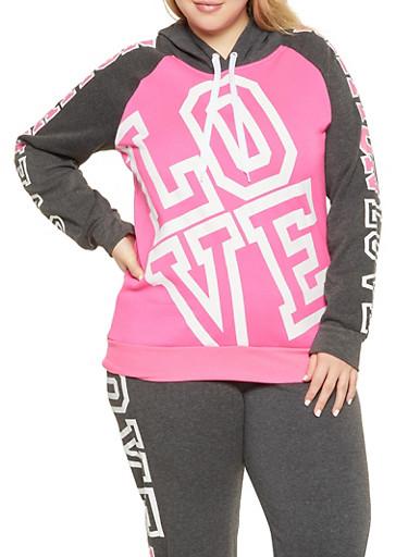 Plus Size Love Nation Graphic Sweatshirt,PINK,large