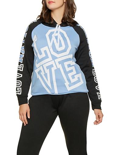 Plus Size Love Nation Graphic Sweatshirt,BLUE,large