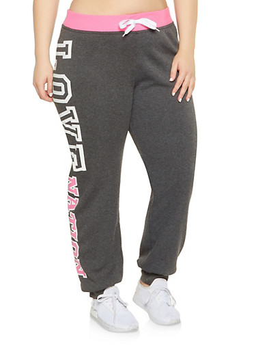 Plus Size Love Graphic Sweatpants,PINK,large