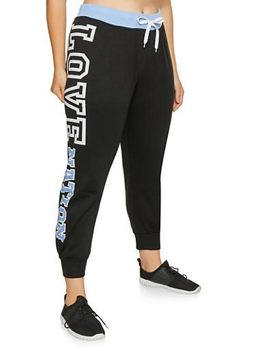 Plus Size Love Graphic Sweatpants,BLUE,large