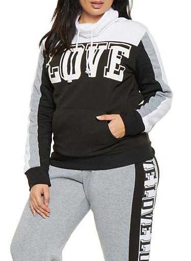 Plus Size Love Graphic Sweatshirt,BLACK/WHITE,large
