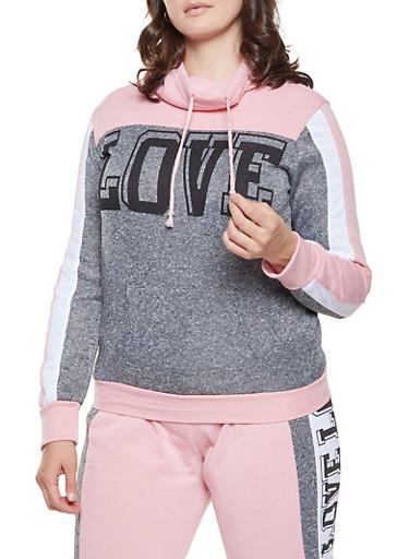 Plus Size Love Graphic Sweatshirt,MAUVE,large