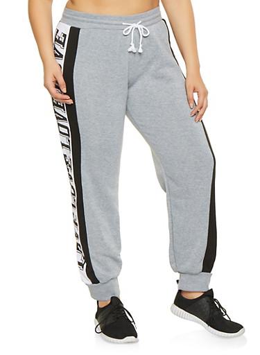 Plus Size Love Graphic Trim Sweatpants,GRAY,large