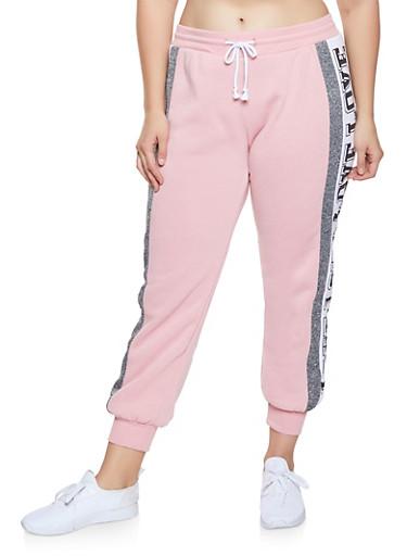 Plus Size Love Graphic Trim Sweatpants,MAUVE,large