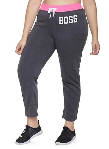 Plus Size Boss Graphic Sweatpants,PINK,large