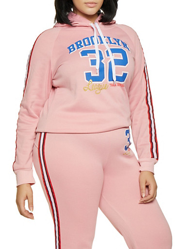 Plus Size Brooklyn Graphic Sweatshirt,MAUVE,large