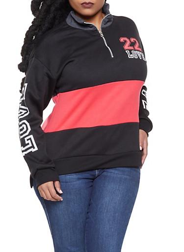 Plus Size Love Graphic Half Zip Sweatshirt,GRAY,large