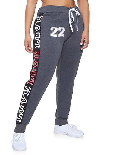Plus Size Lace Up Love Graphic Sweatpants,BLACK,large