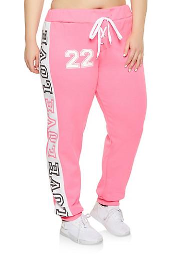 Plus Size Lace Up Love Graphic Sweatpants,PINK,large