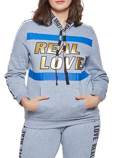 Plus Size Foil Graphic Sweatshirt,GRAY,large