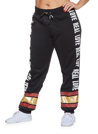 Plus Size Foil Stripe Graphic Sweatpants,BLACK,large