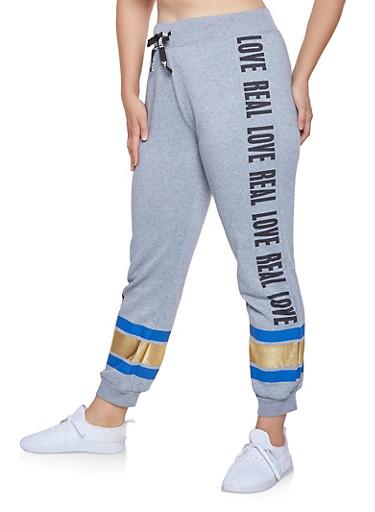 Plus Size Foil Stripe Graphic Sweatpants,GRAY,large