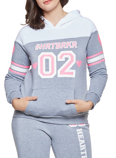 Plus Size HRTBRKR Graphic Sweatshirt,GRAY,large