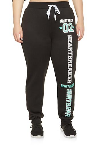 Plus Size HRTBRKR Graphic Sweatpants,BLACK,large