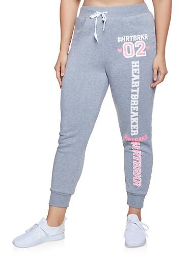 Plus Size HRTBRKR Graphic Sweatpants,GRAY,large