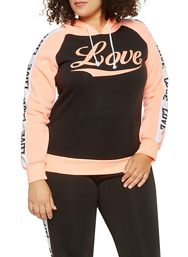 Plus Size Love Graphic Sweatshirt,BLACK,large