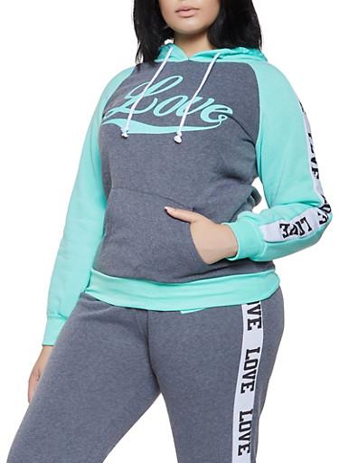 Plus Size Love Graphic Sweatshirt,CHARCOAL,large