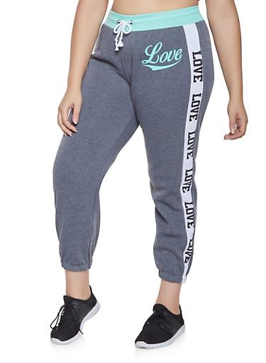 Plus Size Love Graphic Trim Sweatpants,CHARCOAL,large