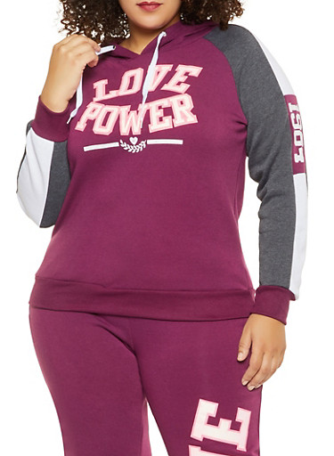 Plus Size Love Power Graphic Sweatshirt,WINE,large