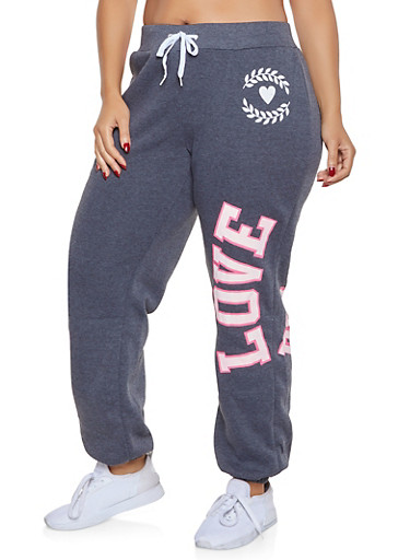Plus Size Love Power Graphic Sweatpants,GRAY,large