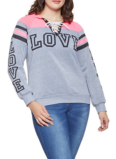 Plus Size Love Graphic Lace Up Sweatshirt,CHARCOAL,large