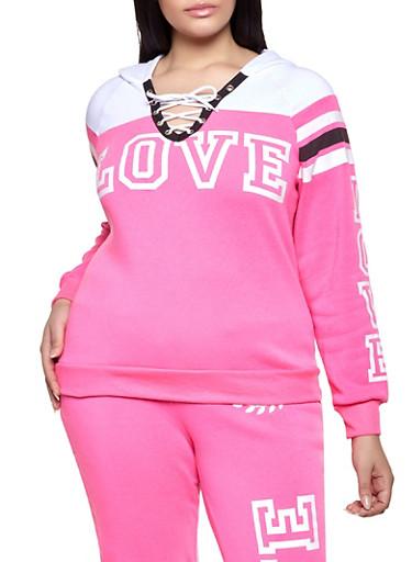 Plus Size Love Graphic Lace Up Sweatshirt,PINK,large