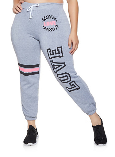 Plus Size Love Graphic Sweatpants,GRAY,large
