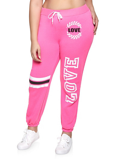 Plus Size Love Graphic Sweatpants,PINK,large