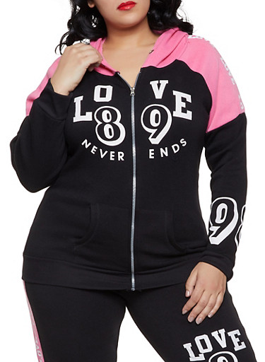 Plus Size Love Never Ends Hooded Sweatshirt,BLACK,large