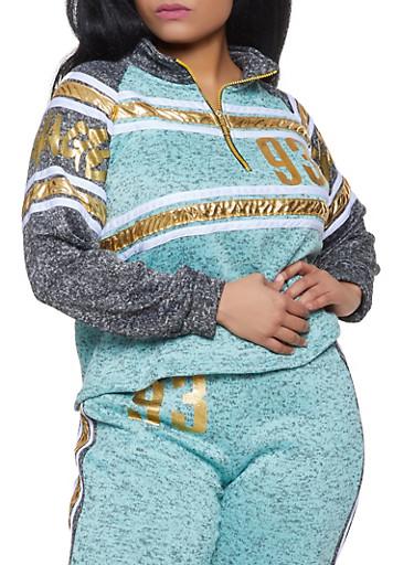 Plus Size Savage Knit Half Zip Sweatshirt,CHARCOAL,large