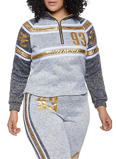 Plus Size Savage Knit Half Zip Sweatshirt,GRAY,large