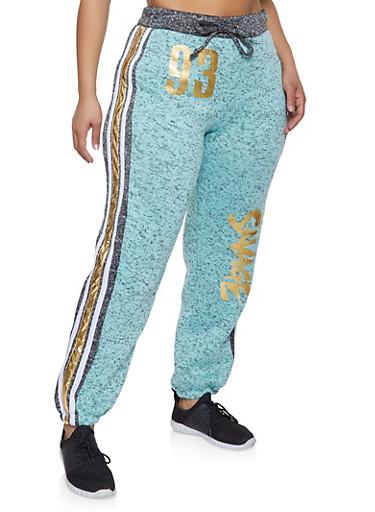 Plus Size Savage Graphic Knit Sweatpants,CHARCOAL,large