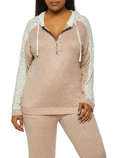 Plus Size Color Block Half Zip Hooded Top,BLUSH,large