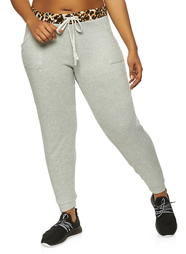 Plus Size Marled Contrast Trim Joggers,HEATHER,large