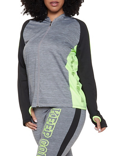 Plus Size Keep Going Color Block Activewear Top,LIME,large