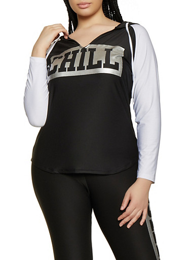 Plus Size Chill Hooded Active Top,BLACK/WHITE,large
