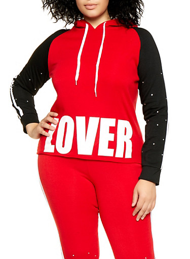 Plus Size Lover Color Block Sweatshirt,RED,large