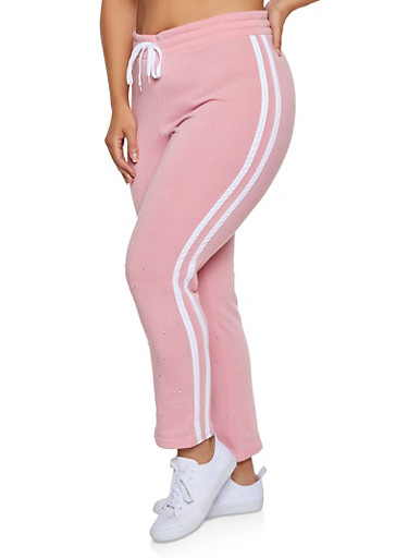 Plus Size Rhinestone Studded Sweatpants,BLUSH,large