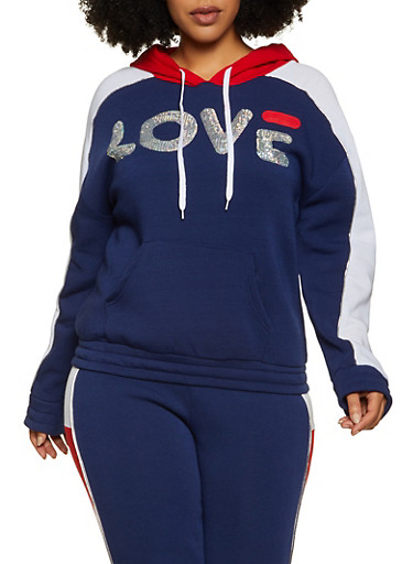 Plus Size Color Block Love Sequin Sweatshirt,NAVY,large