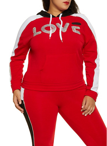 Plus Size Color Block Love Sequin Sweatshirt,RED,large