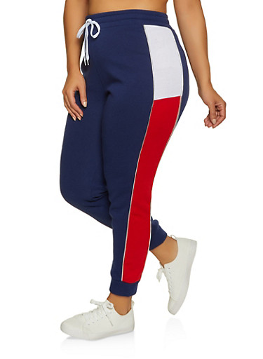 Plus Size Color Blocked Joggers,NAVY,large