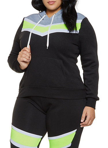 Plus Size Color Block Fleece Lined Sweatshirt,LIME,large