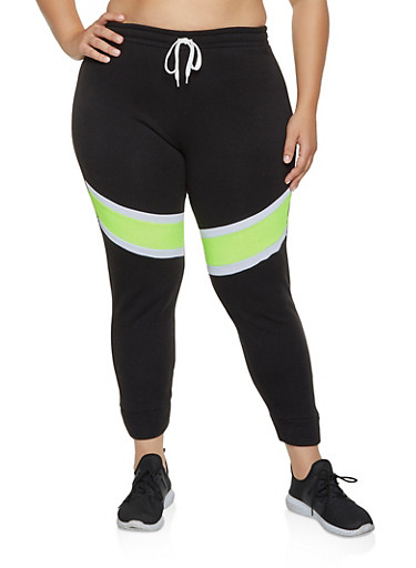 Plus Size Color Block Detail Joggers,LIME,large