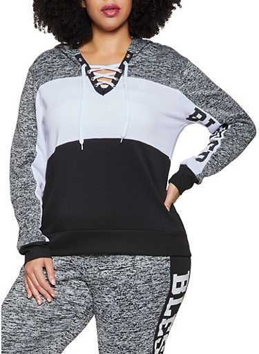 Plus Size Blessed Lace Up Sweatshirt,GRAY,large