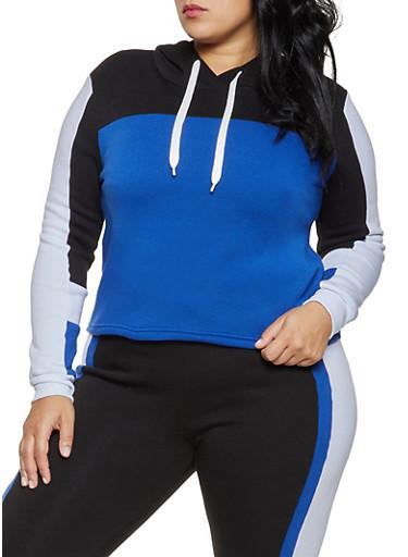 Plus Size Hooded Color Block Sweatshirt,RYL BLUE,large