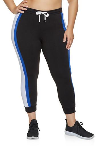 Plus Size Tie Waist Color Block Joggers,RYL BLUE,large