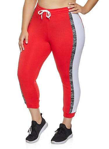 Plus Size Tie Waist Color Block Joggers,RED,large
