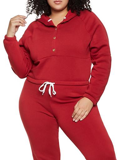 Plus Size Half Button Pullover Sweatshirt,BROWN,large